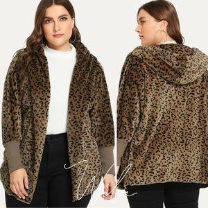 PLUS SIZE leopard print teddy coat hooded